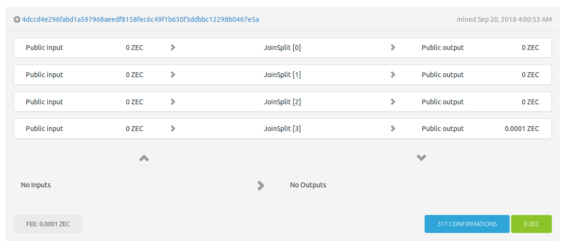 Explorer view of a multiple joinsplit transaction