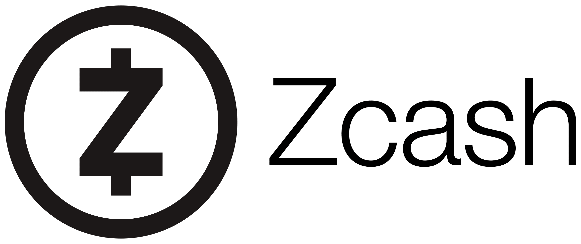Black horizontal Zcash logo