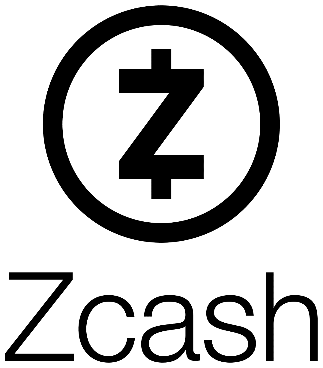 Black vertical Zcash logo