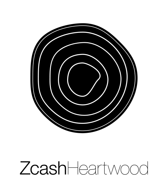 Black Zcash Heartwood vertical logo