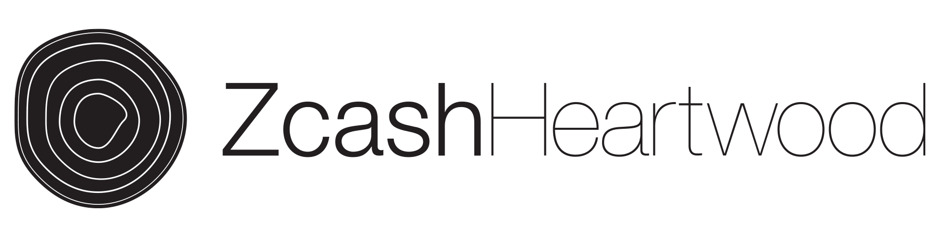 Black Zcash Heartwood horizontal logo