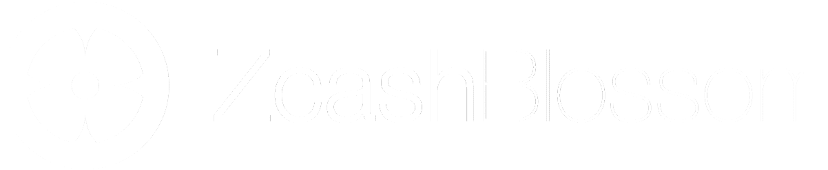 White Zcash Blossom horizontal logo