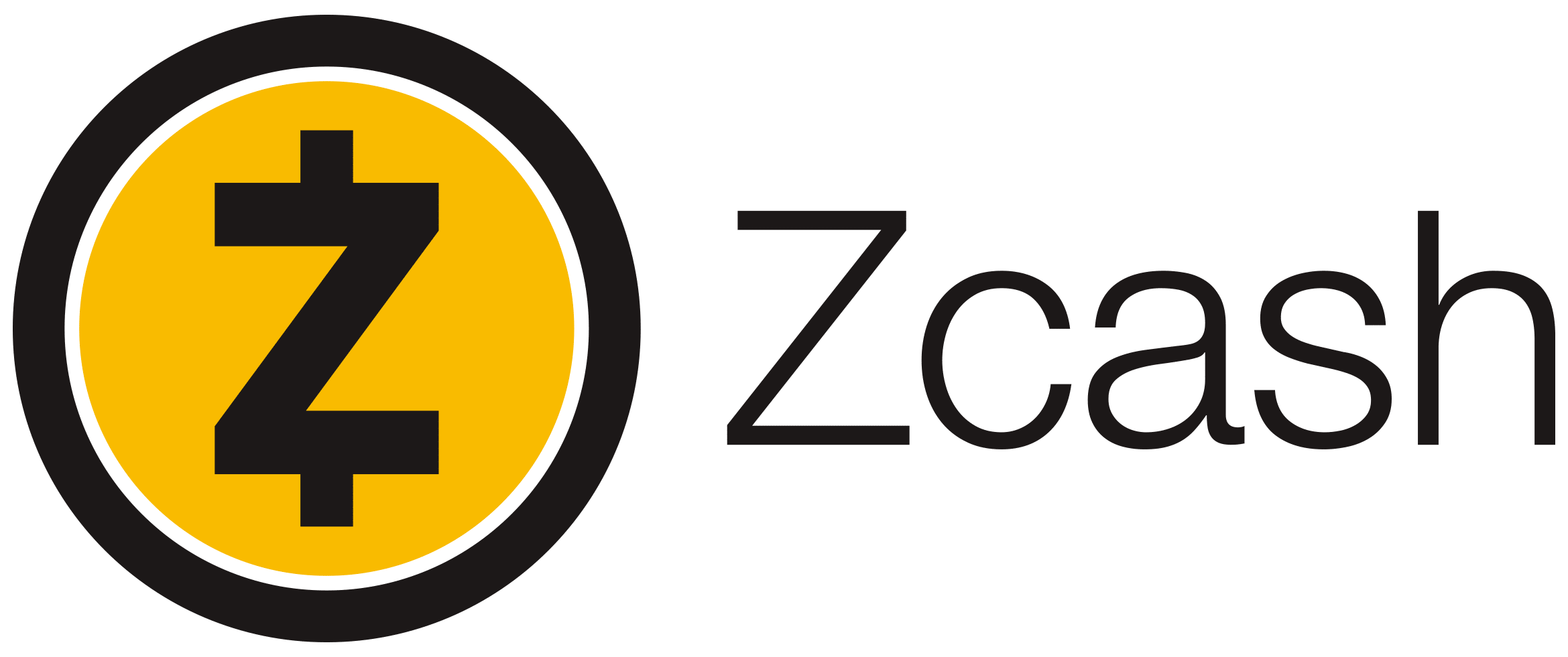 Full color horizontal Zcash logo
