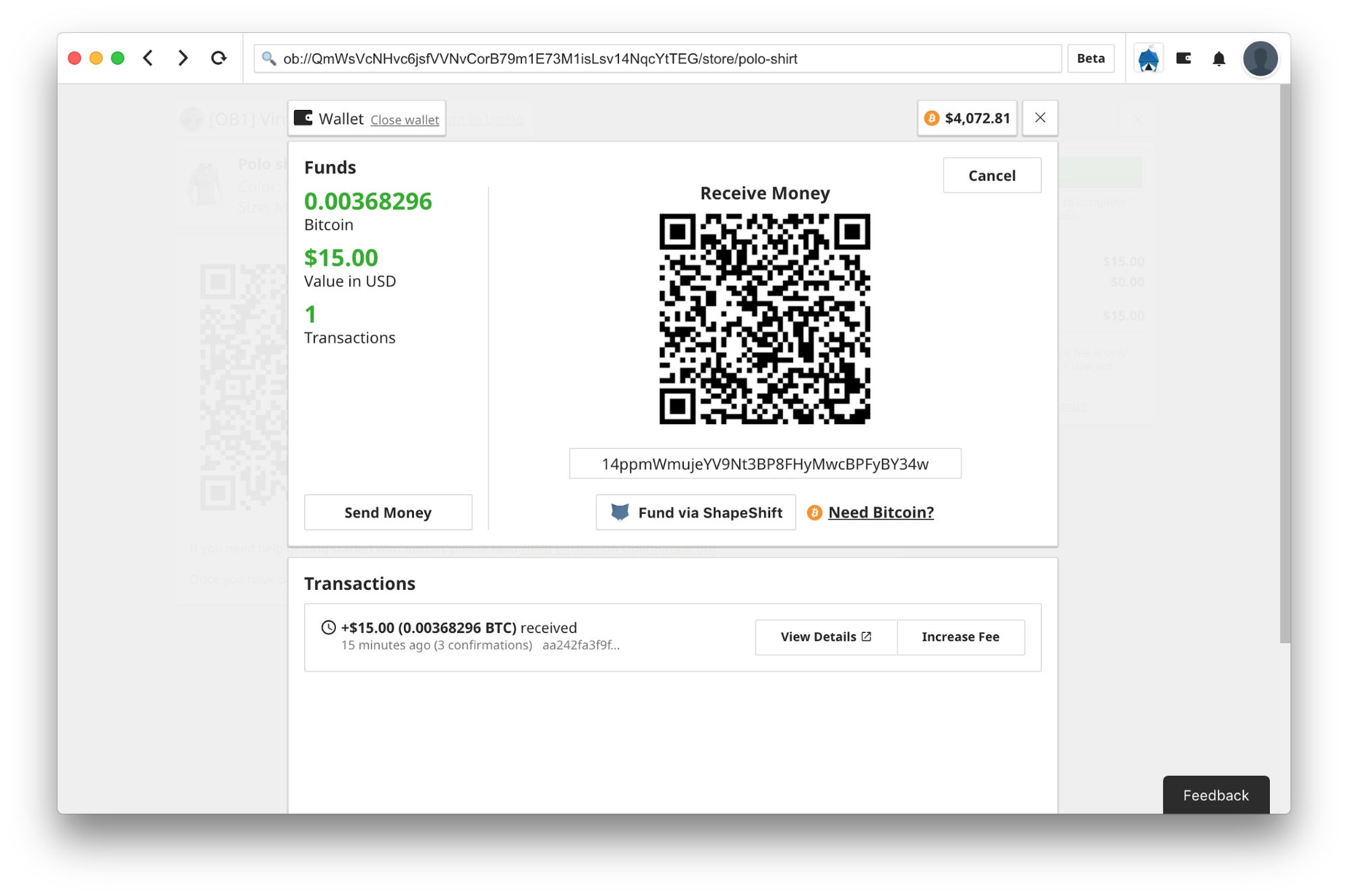 A screenshot showing the ability to fund an OpenBazaar wallet with Zcash