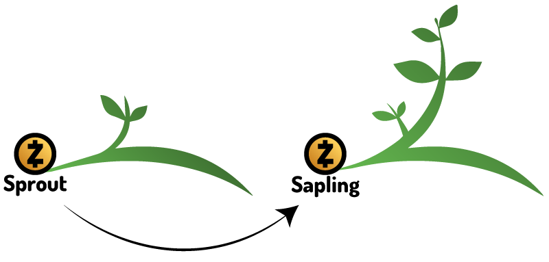 Zcash Sprout to Sapling logo transition