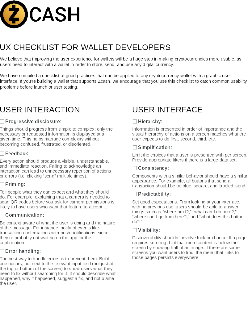 Snapshot of the first page of the UX Checklist PDF